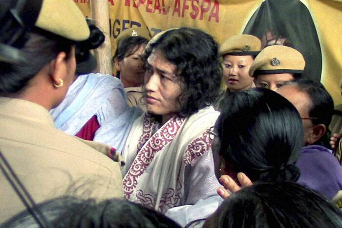 Manipuri police re-arrested 42-year-old activist after taking her away from a protest site. (Source: PTI)