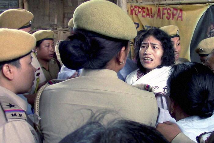 Sharmila has been taken back to her ward at the Jawaharlal Nehru Institute of Medical Sciences (JNIMS) to be force fed through her nose. (Source: PTI)