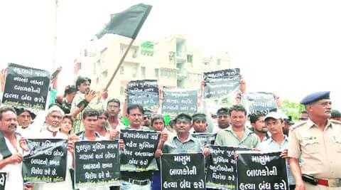 Muslims protest against Israeli attacks on Gaza, at Juhapura in Ahmedabad on Sunday. (Source: Express photo by Javed Raja)