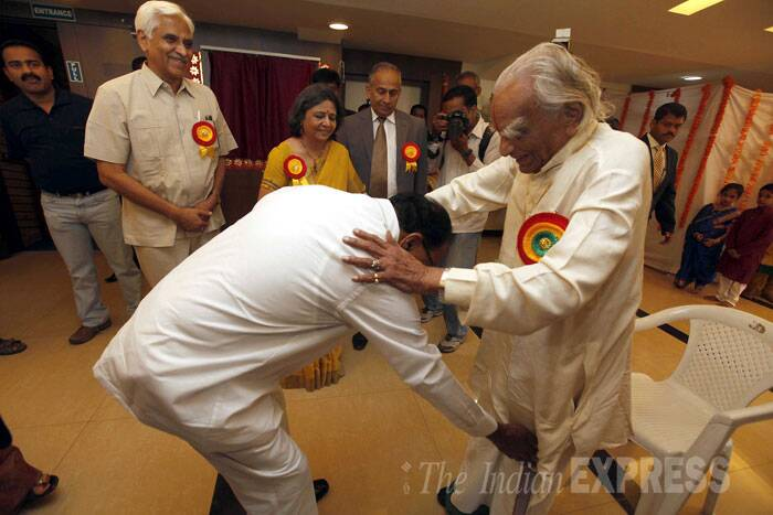 Iyengar was considered one of the foremost yoga teachers in the world and had written many books on yoga practice and philosophy including 'Light on Yoga', 'Light on Pranayama', and 'Light on the Yoga Sutras of Patanjali'. <br /><br /> File Photo: Former union minister Veerappa Moily greets BKS Iyengar, one of the foremost yoga teachers in the country during public function at Kannada Sangha's Kaveri Group of Institutes in Eranadwane area. (Source: Express Photo by Pavan Khengre)