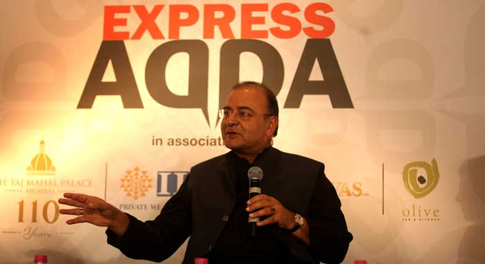 Finance Minister Arun Jaitley at the Express Adda event in Mumbai. (Source: Express photo by Prashant Nadkar)
