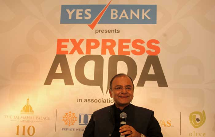 Finance Minister Arun Jaitley at Express Adda in Mumbai. (Source: Express photo by Prashant Nadkar)