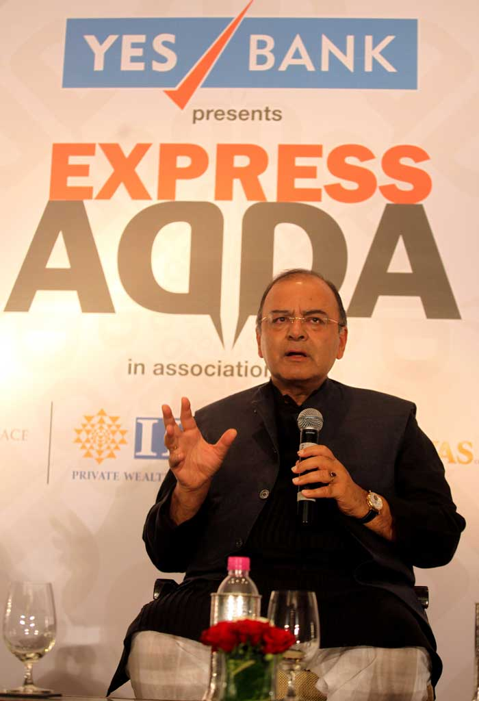 Arun Jaitley explains some serious point while addressing the audience at the Express Adda event. (Source: Express photo by Prashant Nadkar)