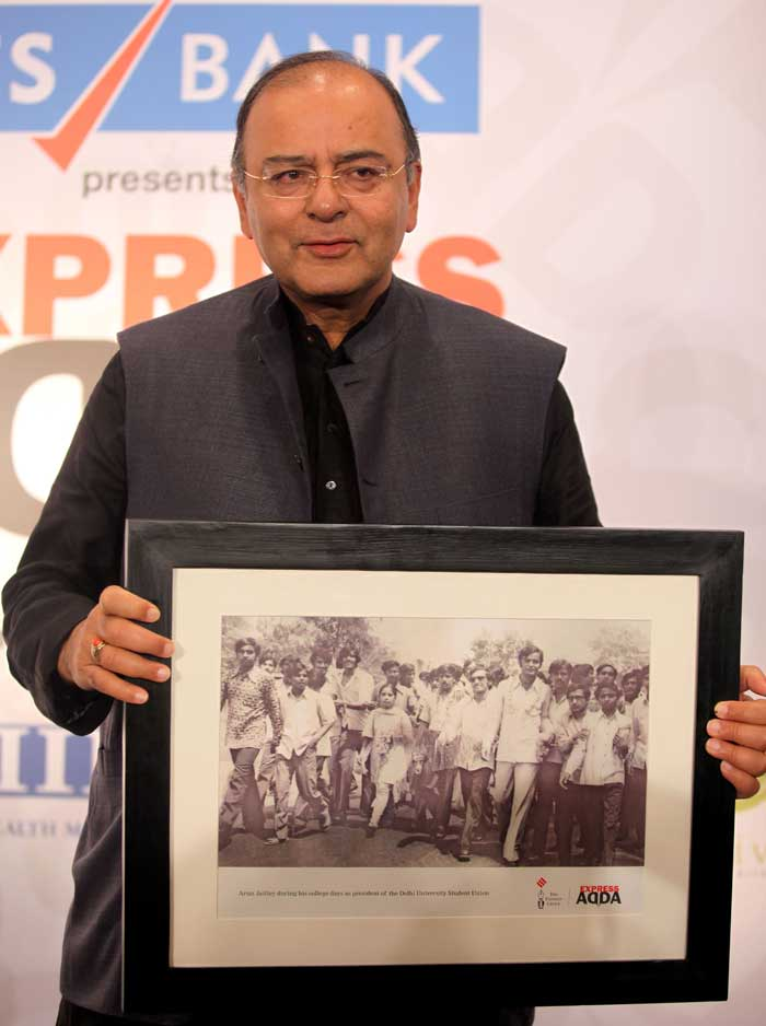 Arun Jaitley with a photo from his college days when he was the president of the Delhi university Students Union. (Source: Express photo by Prashant Nadkar)