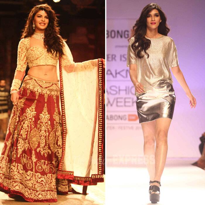 Day 2 of the ongoing Lakme Fashion Week Winter/Festive 2014 saw Bollywood beauties Jacqueline Fernnadez and Kriti Sanon showcasing designer creations in the ramp. (Source: Varinder Chawla)