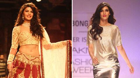 Jacqueline was dressed in a glittering lehenga, fully embroidered long sleeved choli and net dupatta, along with beautiful jewellery to complement her look.