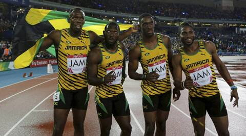 The jubilant Jamaican relay team. (Source: AP)
