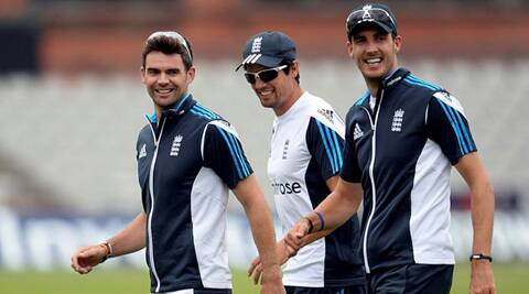 James Anderson, Alisatair Cook and Steven Finn share a light moment during a practice session. Source: Rreuters)