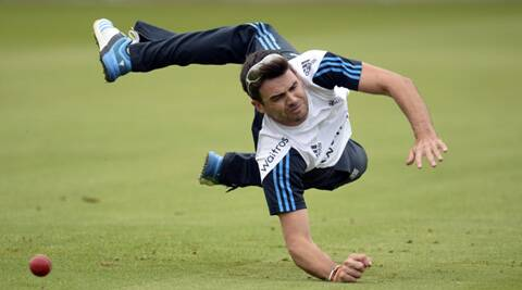England's James Anderson during a training session at Old Trafford on Tuesday (Source: Reuters)