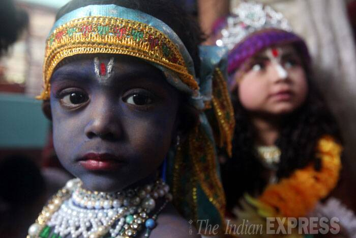 A young boy dressed as Kanha. (Source: Express Photo by Partha Paul)