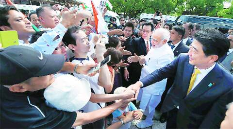 PMs Modi, Abe during the visit to Toji Temple in Kyoto Sunday.  (Source: PTI)