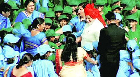 Modi with schoolchildren at Red Fort on August 15. ( Source: PTI )