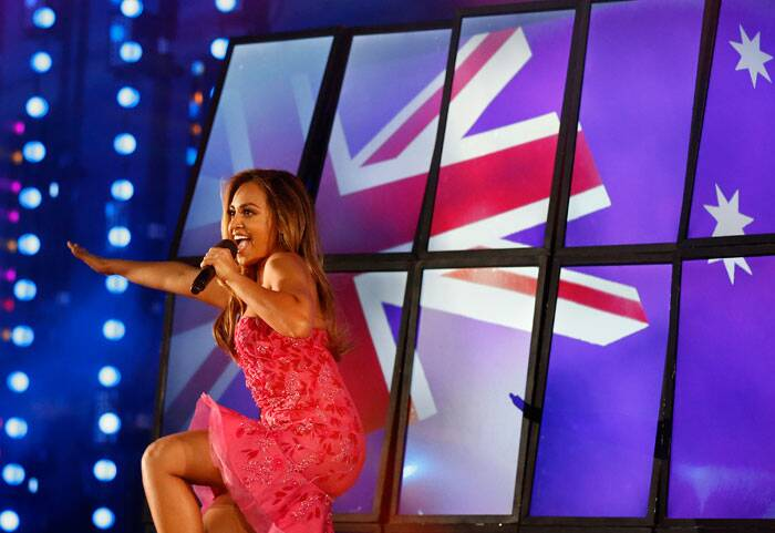 Australian singer Jessica Mauboy performs onstage during the Closing Ceremony for the Commonwealth Games Glasgow 2014, at Hampden Park stadium, in Glasgow, Scotland, Sunday. (Source: AP)