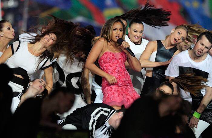 Australian singer Jessica Mauboy is seen performing onstage during the Closing Ceremony for the Commonwealth Games Glasgow 2014. (Source: AP)
