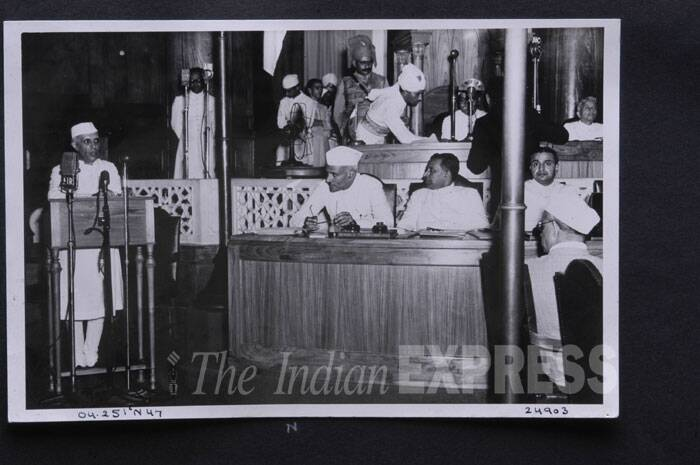 Jawaharlal Nehru, as he delivered his famous 'tryst with destiny' speech on the midnight of August 15, 1947. (Express archive photo)