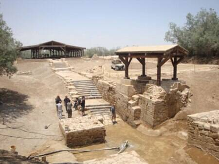 The site on the Jordan River where Jesus is believed to have been baptised. The water has dried up on the site, so it is artificially pumped for any Christian wishing to be baptised here. (Source: Irena Akbar)