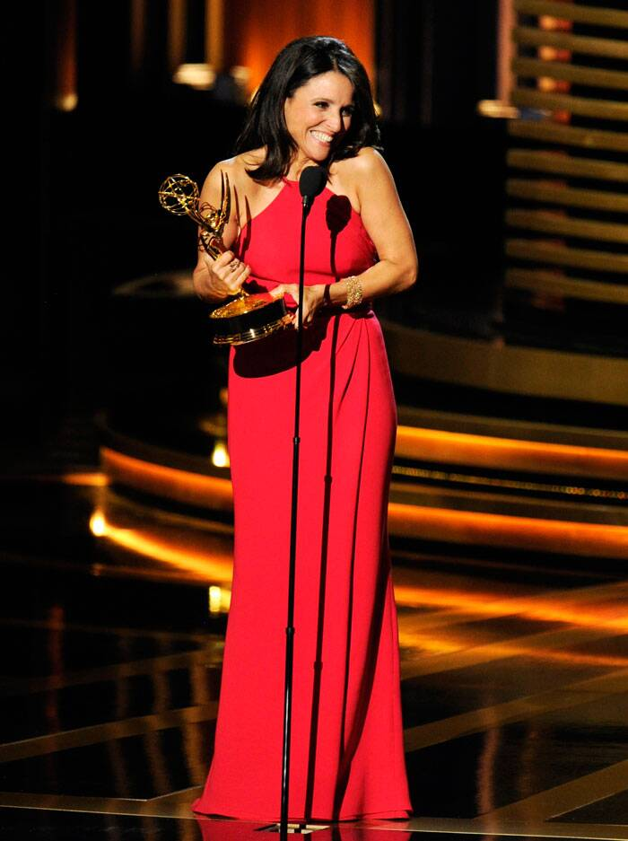 Julia Louis-Dreyfus says a few words as she accepts the award for outstanding lead actress in a comedy series for her work on 'Veep'. (Source: AP)