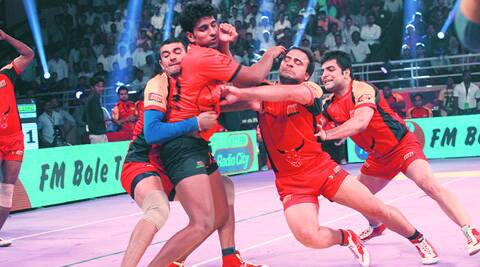 The lasers and other bells and whistles have enhanced the viewer experience of the Pro-Kabaddi League. (Source: Express Photo by Arul Horizon)
