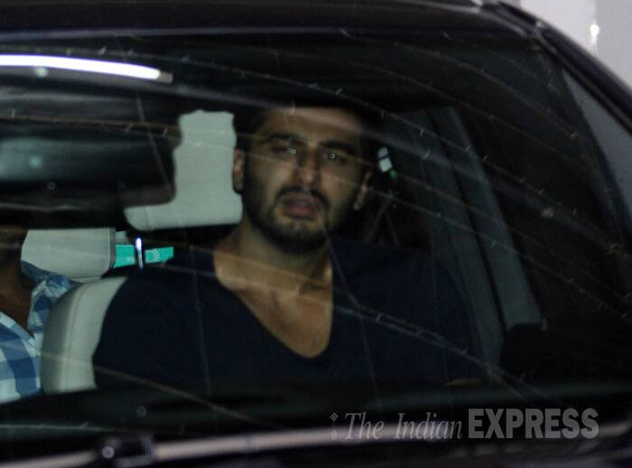 Meanwhile, Arjun Kapoor was seen in his car outside a sound studio. (Source: Varinder Chawla)
