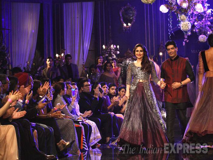 "On Kareena Kapoor's outfit, Manish Malhotra said: ""I have used two versions of grey. I want this grey to be popular this winter.""  (Source: Express Photo by Pradip Das)"