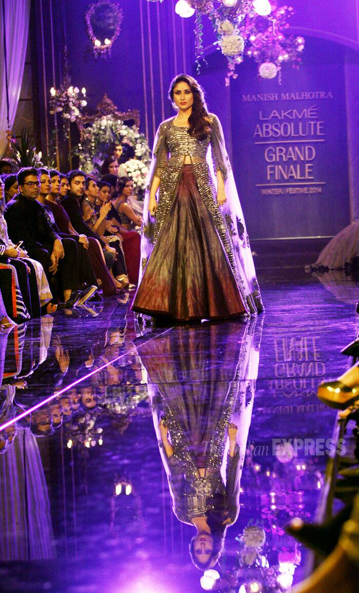 The grand finale of the Lakme Fashion week (LFW) 2014 was a memorable one as actress Kareena Kapoor who was the showstopper for designer Manish Malhotra looked classy and elegant in his creation. (Source: Express Photo by Pradip Das)