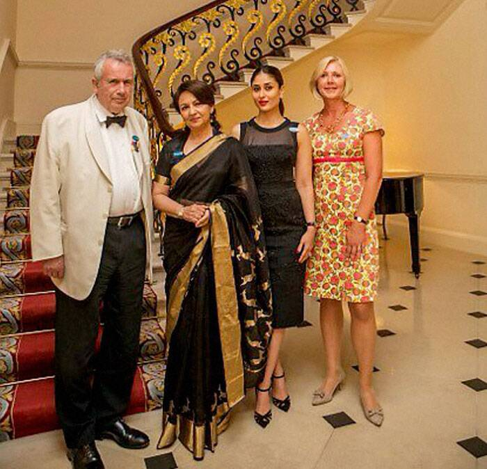 Bollywood actress Kareena Kapoor Khan, who is currently holidaying in London with her family, attended a dinner to support UNICEF's education work for children in India along with her mother-in-law Sharmila Tagore who is the UNICEF Goodwill Ambassador. <br /><br /> Also seen in the picture are UNICEF UK Ambassador Martin Bell OBE and UNICEF UK Deputy Executive Director, Anita Tiessen. (Source: PTI)