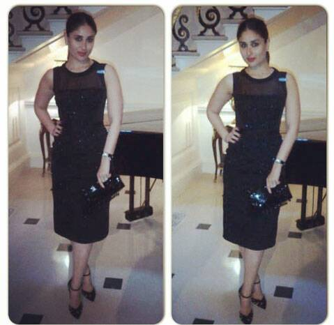 Kareena Kapoor looked chic in a black sheer midi dress with ankle-strap heels and red lipstick. (Source: PTI)