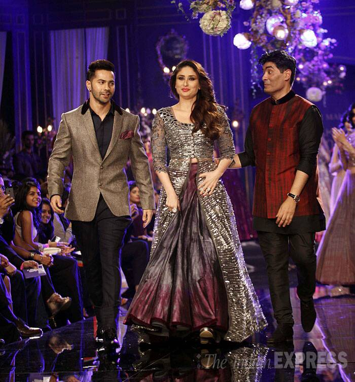 Varun seems to be smitten by Kareena as he walks the ramp with her and Manish. (Source: Express Photo by Pradip Das)