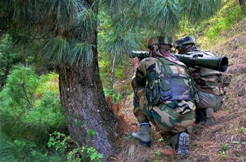 Army personnel with rocket launcher during an encounter with militants in Kalaros, Kupwara district. (Source: PTI)