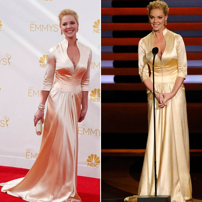 Katherine Heigl from 'Grey's Anatomy' picked a demure coloured satin gown for the night. (Source: Reuters/AP)