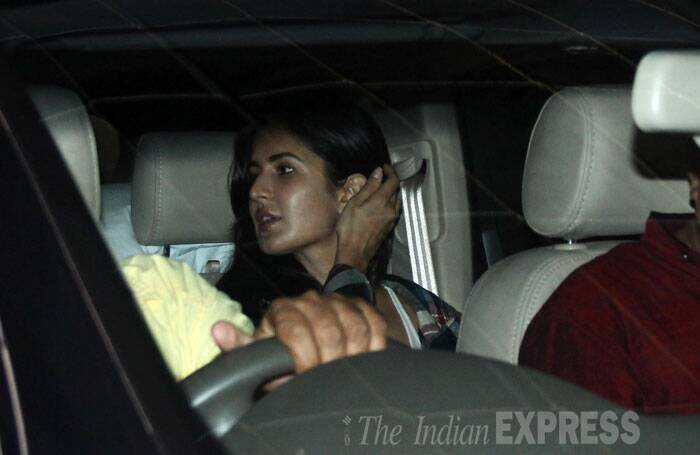 Ranbir's rumoured girlfriend Katrina Kaif was snapped sitting in her car. (Source: Varinder Chawla)