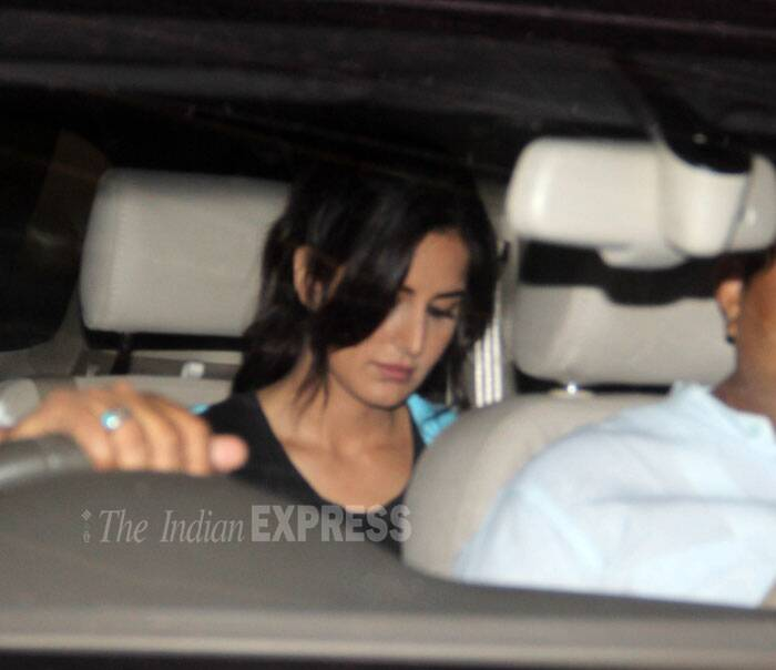 Katrina Kaif is busy reading texts over her phone. (Source: Varinder Chawla)