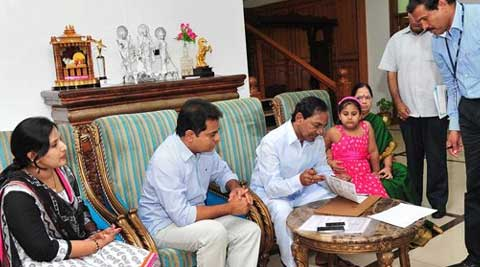 Chief Minister K. Chandrashekar Rao is enumerated as Telangana household survey is underway, at his residence in Hyderabad on Tuesday. (Source: PTI)