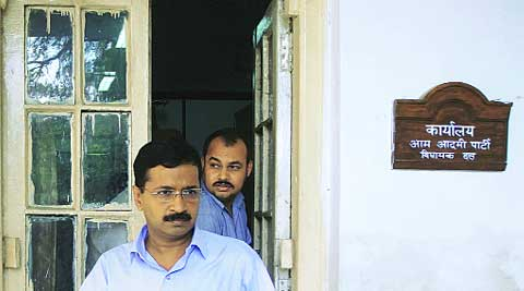 Pamphlets contain a letter from Arvind Kejriwal, raising the issues of rise in power and water tariffs.