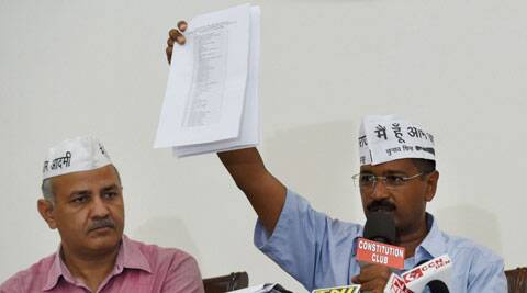 AAP convener Arvind Kejriwal shows a document during a press conference in New Delhi on Friday. (Source: PTI)