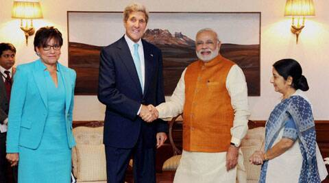 US Secretary of State John Kerry with PM Narendra Modi and Swaraj in Delhi on Friday. (Source: PTI)