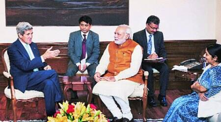 Narendra Modi, Sushma Swaraj and John Kerry in New Delhi on Friday. (Source: PTI)