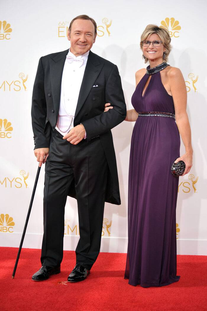 'House of Cards' actor Kevin Spacey was handsome as he was accompanied by friend Ashleigh Banfield. (Source: AP)