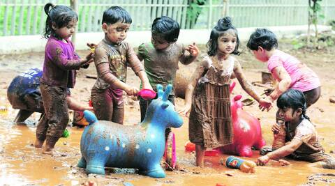 Feats of clay: Students of Somaiya School, Vidyavihar, play in mud to mark Mud Day.  (Source: Prashant Nadkar)
