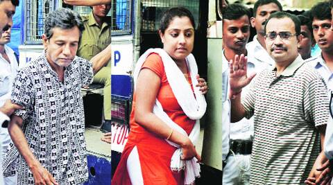 Sudipta Sen, Debjani Mukherjee and Kunal Ghosh outside a local court, in Kolkata on Tuesday. ( PTI )