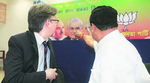 Rahul Sinha (left) tells Consul General of France in Kolkata, Fabrice Etienne, about BJP leaders at party office in Kolkata, Tuesday. (Subham Dutta)