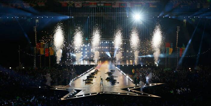 Pyrotechnics explode as Australian pop singer Kylie Minogue performs on stage during the Closing Ceremony for the Commonwealth Games Glasgow 2014, at Hampden Park stadium, in Glasgow, Scotland. (Source: AP)