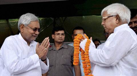 RJD chief Lalu Prasad and JD(U) senior leader Nitish Kumar at a by-election rally in Hajipur on Monday. (Source: PTI)