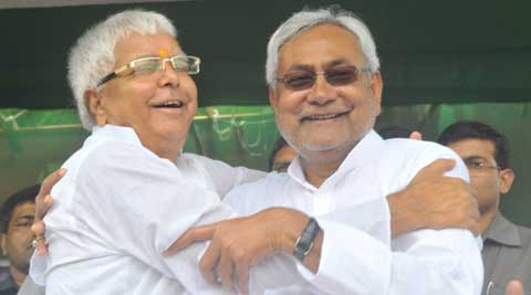 Reunion of the year: Lalu Yadav and Nitish Kumar share dais after 21 years. (Source: Express Photo by Prashant Ravi)