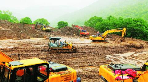 NDRF search operations in Malin village six days after the landslide. (Source: Express photo by Pavan Khengre)