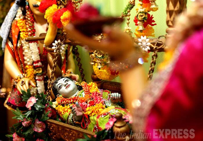 A decorated idol of Lord Krishna. (Source: Express Photo by Pradip Das)