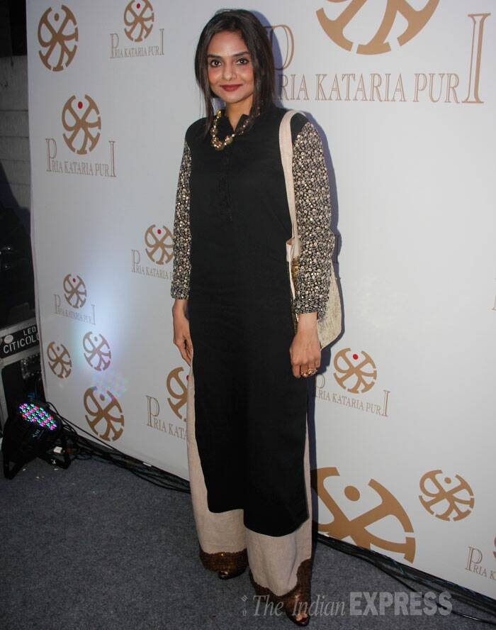 Madhoo stepped out in a black and golden palazzo suit. (Source: Varinder Chawla)