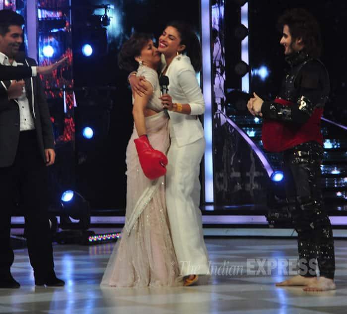Post fight! Madhuri gets a hug from 'boxer' Priyanka. (Source: Varinder Chawla)