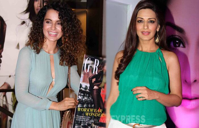 The pretty ladies of Bollywood, actress Kangana Ranaut and Sonali Bendre were spotted at different events on Friday night. (Source: Varinder Chawla)