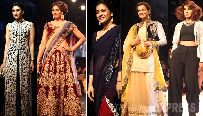 The final day of Lakme Fashion Week 2014 saw the best of Bollywood walking the ramp including National Award winning actress Priyanka Chopra, Kajol, Bengali beauty Bipasha Basu, actress Karisma Kapoor, Dia Mirza and several others.